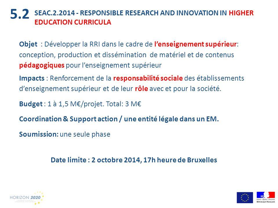 SEAC.2.2014 - RESPONSIBLE RESEARCH AND INNOVATION IN HIGHER EDUCATION CURRICULA Objet : Développer la RRI dans le cadre de lenseignement supérieur: co