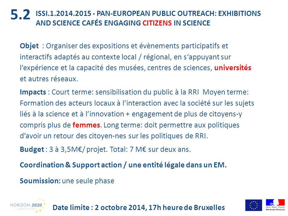 ISSI.1.2014.2015 - PAN-EUROPEAN PUBLIC OUTREACH: EXHIBITIONS AND SCIENCE CAFÉS ENGAGING CITIZENS IN SCIENCE Objet : Organiser des expositions et évène