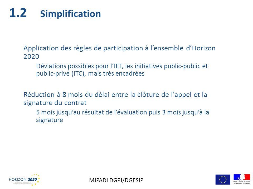 Simplification Application des règles de participation à lensemble dHorizon 2020 Déviations possibles pour lIET, les initiatives public-public et publ
