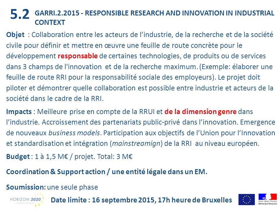 GARRI.2.2015 - RESPONSIBLE RESEARCH AND INNOVATION IN INDUSTRIAL CONTEXT Objet : Collaboration entre les acteurs de lindustrie, de la recherche et de