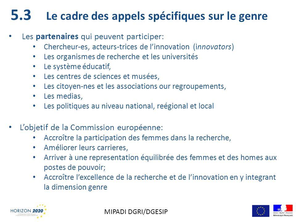 5.3 Le cadre des appels spécifiques sur le genre Les partenaires qui peuvent participer: Chercheur-es, acteurs-trices de linnovation (innovators) Les