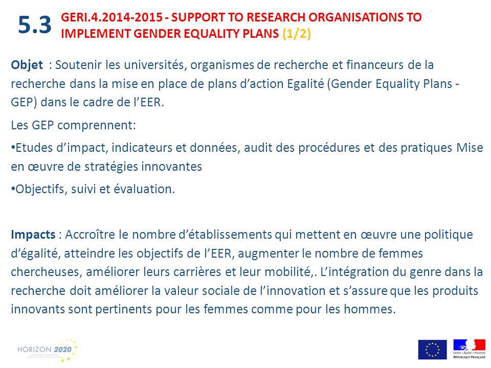 Objet : Soutenir les universités, organismes de recherche et financeurs de la recherche dans la mise en place de plans daction Egalité (Gender Equalit