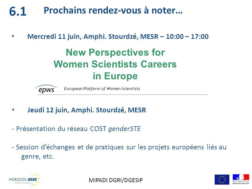 6.1 Prochains rendez-vous à noter… Mercredi 11 juin, Amphi. Stourdzé, MESR – 10:00 – 17:00 European Platform of Women Scientists New Perspectives for