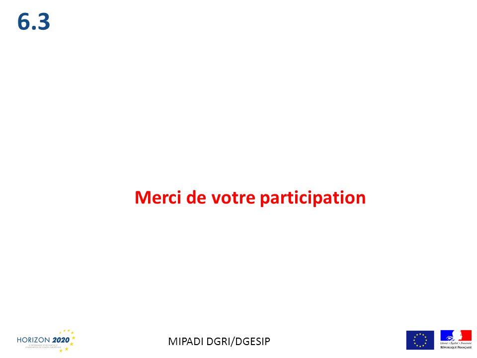 Merci de votre participation 6.3 MIPADI DGRI/DGESIP