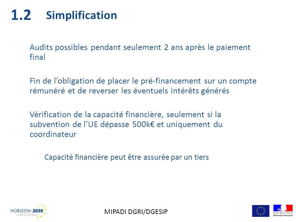 Simplification Audits possibles pendant seulement 2 ans après le paiement final Fin de lobligation de placer le pré-financement sur un compte rémunéré