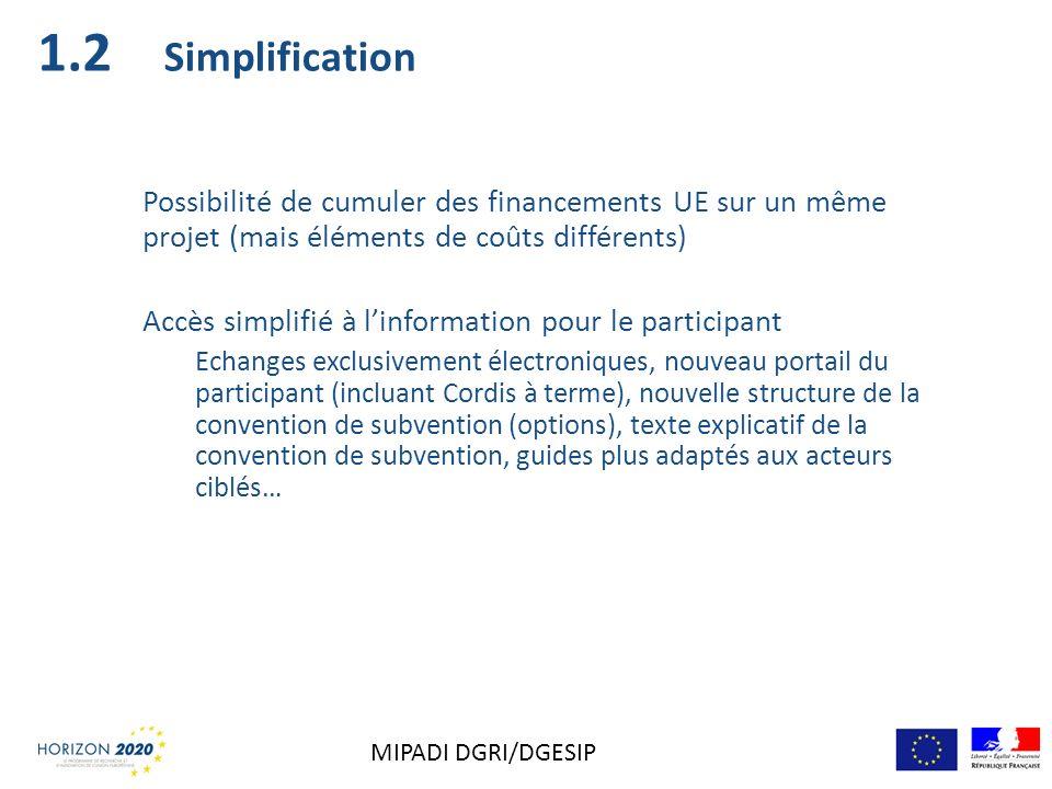 Simplification Possibilité de cumuler des financements UE sur un même projet (mais éléments de coûts différents) Accès simplifié à linformation pour l