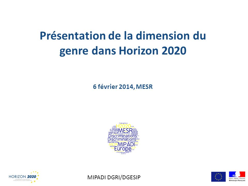 Présentation de la dimension du genre dans Horizon 2020 6 février 2014, MESR MIPADI DGRI/DGESIP
