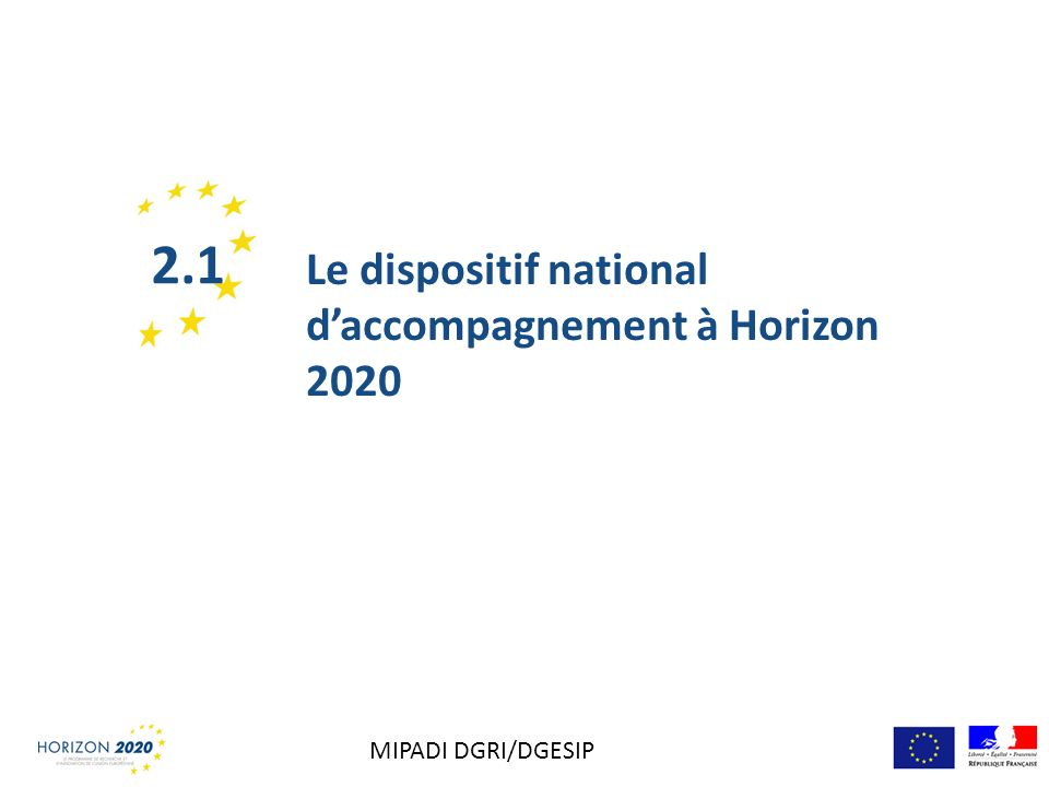 Le dispositif national daccompagnement à Horizon 2020 2.1 MIPADI DGRI/DGESIP