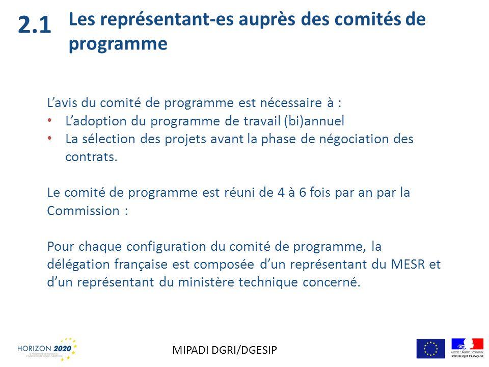 Les représentant-es auprès des comités de programme Lavis du comité de programme est nécessaire à : Ladoption du programme de travail (bi)annuel La sé