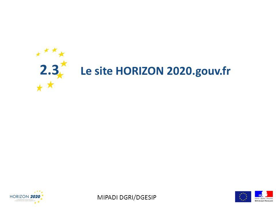 Le site HORIZON 2020.gouv.fr 2.3 MIPADI DGRI/DGESIP