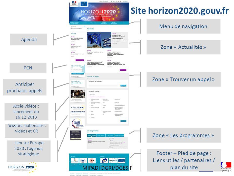 Site horizon2020.gouv.fr Agenda PCN Anticiper prochains appels Accès vidéos : lancement du 16.12.2013 Menu de navigation Zone « Actualités » Zone « Tr