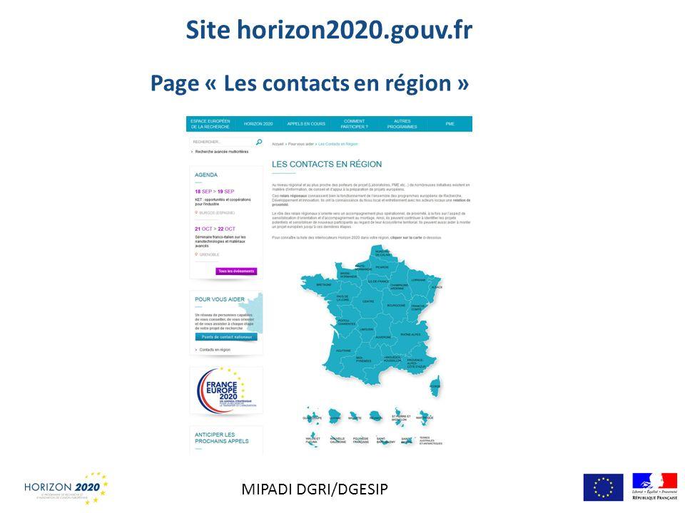 Site horizon2020.gouv.fr Page « Les contacts en région » MIPADI DGRI/DGESIP