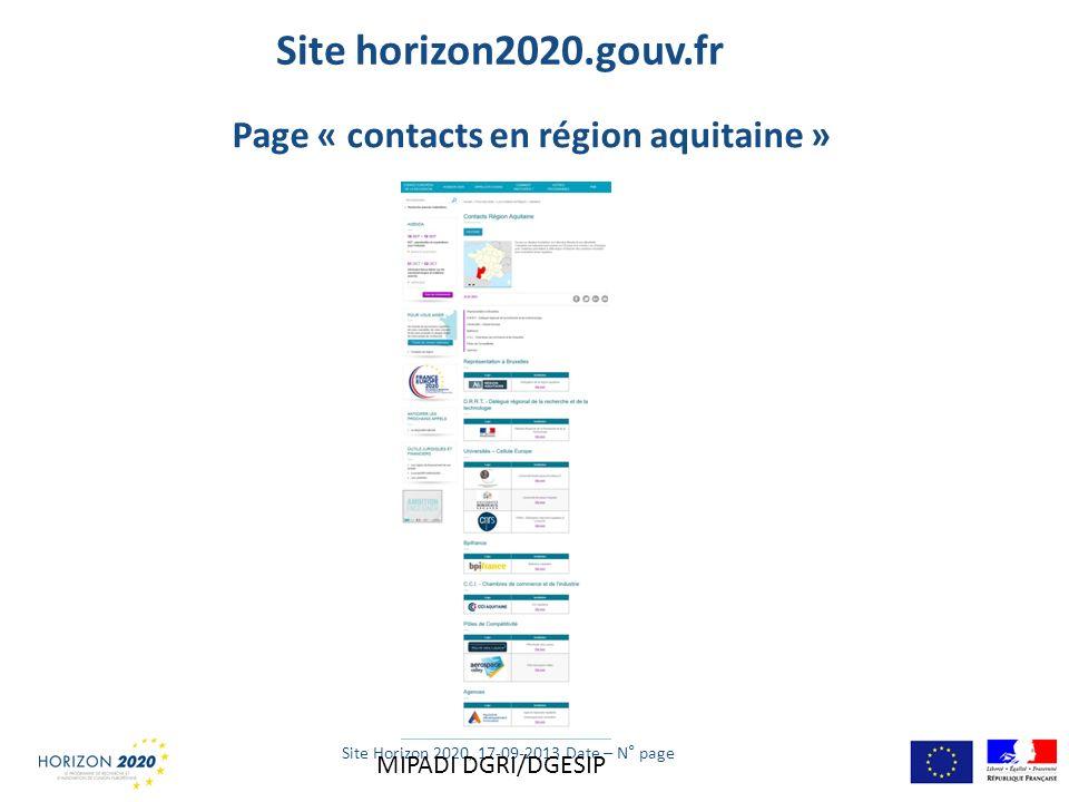 Site horizon2020.gouv.fr Site Horizon 2020, 17-09-2013 Date – N° page Page « contacts en région aquitaine » MIPADI DGRI/DGESIP