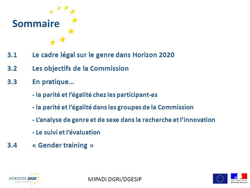 Sommaire 3.1Le cadre légal sur le genre dans Horizon 2020 3.2 Les objectifs de la Commission 3.3 En pratique… - la parité et légalité chez les partici