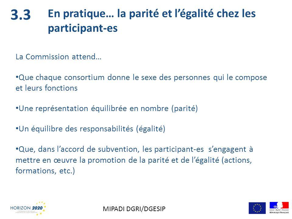 3.3 En pratique… la parité et légalité chez les participant-es La Commission attend… Que chaque consortium donne le sexe des personnes qui le compose