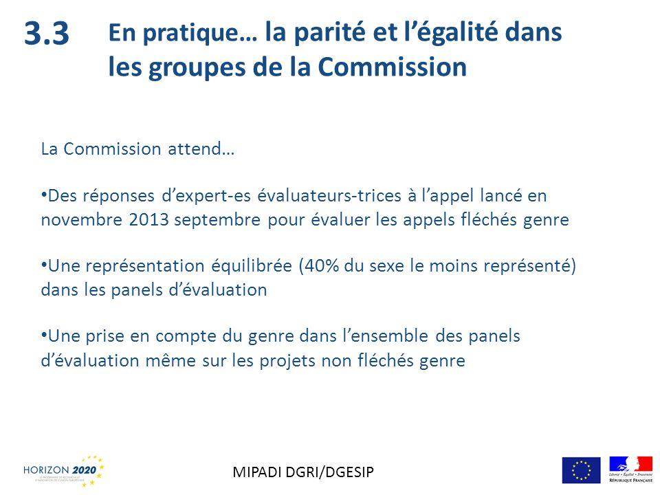 3.3 En pratique… la parité et légalité dans les groupes de la Commission La Commission attend… Des réponses dexpert-es évaluateurs-trices à lappel lan