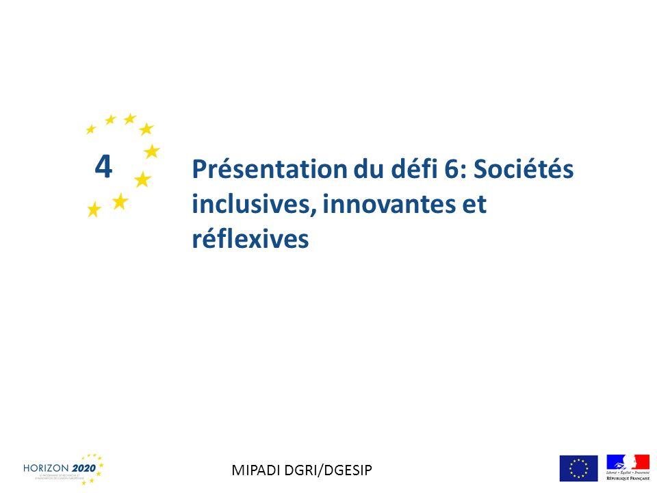 Présentation du défi 6: Sociétés inclusives, innovantes et réflexives 4 MIPADI DGRI/DGESIP