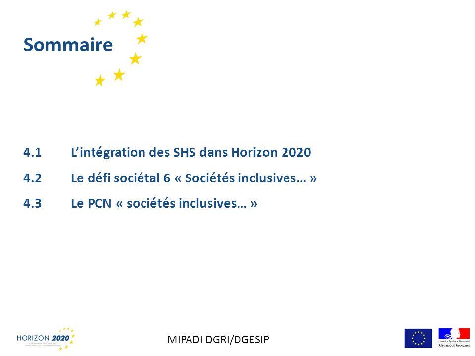 Sommaire 4.1 Lintégration des SHS dans Horizon 2020 4.2 Le défi sociétal 6 « Sociétés inclusives… » 4.3 Le PCN « sociétés inclusives… » MIPADI DGRI/DG
