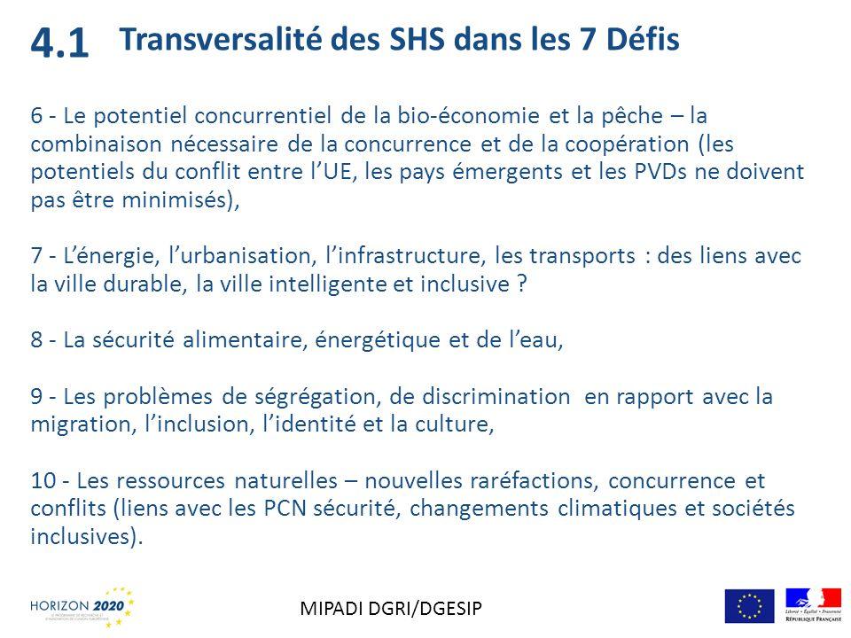 Transversalité des SHS dans les 7 Défis 6 - Le potentiel concurrentiel de la bio-économie et la pêche – la combinaison nécessaire de la concurrence et