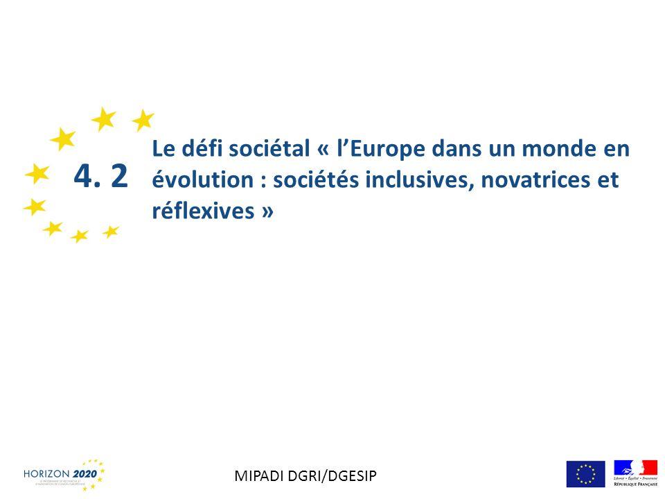 Le défi sociétal « lEurope dans un monde en évolution : sociétés inclusives, novatrices et réflexives » 4. 2 MIPADI DGRI/DGESIP