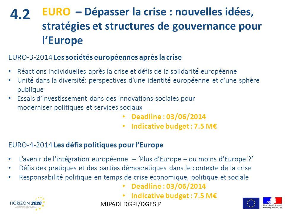 EURO-3-2014 Les sociétés européennes après la crise Réactions individuelles après la crise et défis de la solidarité européenne Unité dans la diversit