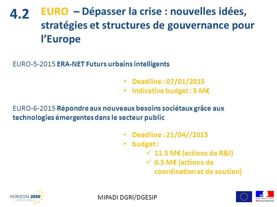 EURO-5-2015 ERA-NET Futurs urbains intelligents Deadline : 07/01/2015 Indicative budget : 5 M EURO-6-2015 Répondre aux nouveaux besoins sociétaux grâc