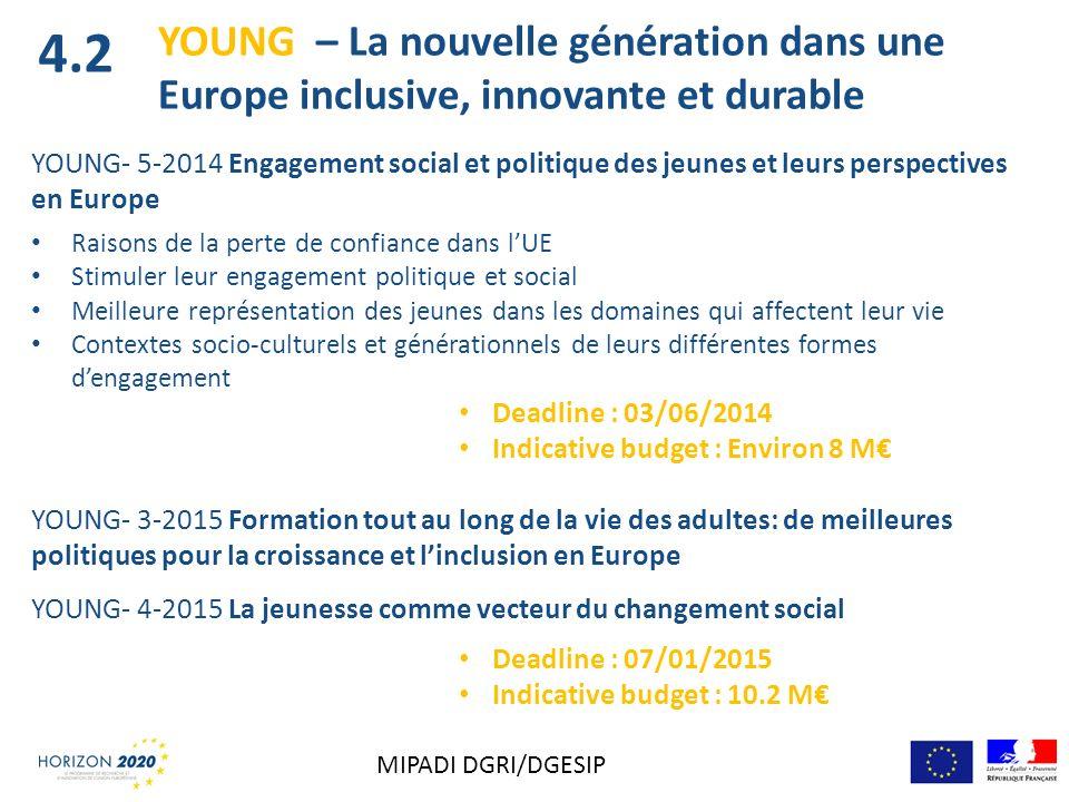 YOUNG- 5-2014 Engagement social et politique des jeunes et leurs perspectives en Europe Raisons de la perte de confiance dans lUE Stimuler leur engage