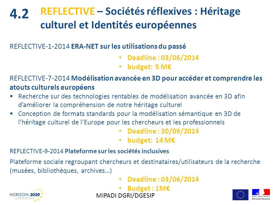 REFLECTIVE – Sociétés réflexives : Héritage culturel et Identités européennes REFLECTIVE-1-2014 ERA-NET sur les utilisations du passé Deadline : 03/06