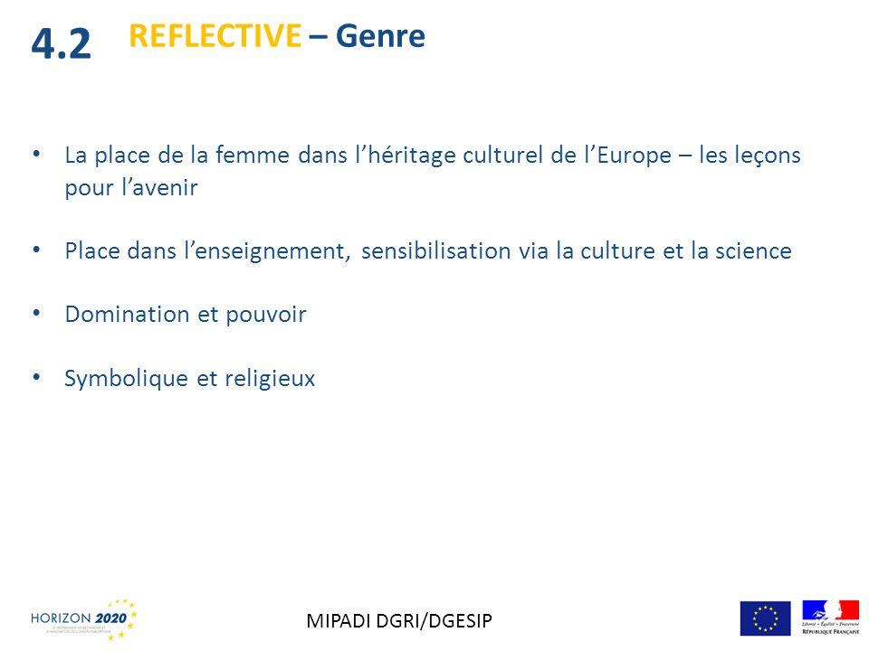 La place de la femme dans lhéritage culturel de lEurope – les leçons pour lavenir Place dans lenseignement, sensibilisation via la culture et la scien