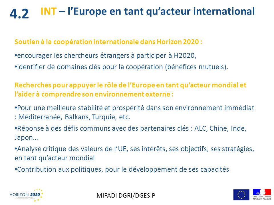 INT – lEurope en tant quacteur international Soutien à la coopération internationale dans Horizon 2020 : encourager les chercheurs étrangers à partici