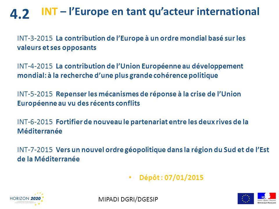 INT – lEurope en tant quacteur international INT-3-2015 La contribution de lEurope à un ordre mondial basé sur les valeurs et ses opposants INT-4-2015