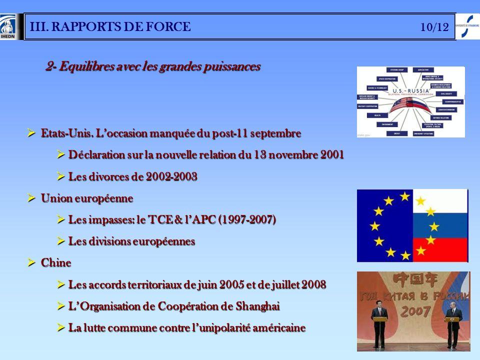 III. RAPPORTS DE FORCE 10/12 2- Equilibres avec les grandes puissances Etats-Unis. Loccasion manquée du post-11 septembre Etats-Unis. Loccasion manqué