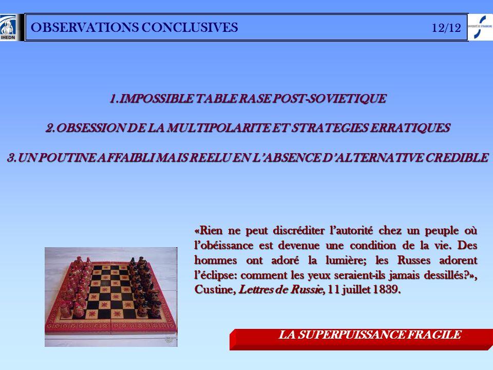 OBSERVATIONS CONCLUSIVES 12/12 1.IMPOSSIBLE TABLE RASE POST-SOVIETIQUE 2.OBSESSION DE LA MULTIPOLARITE ET STRATEGIES ERRATIQUES 3.UN POUTINE AFFAIBLI
