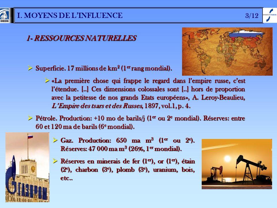 I. MOYENS DE LINFLUENCE 3/12 1- RESSOURCES NATURELLES Superficie. 17 millions de km 2 (1 er rang mondial). Superficie. 17 millions de km 2 (1 er rang