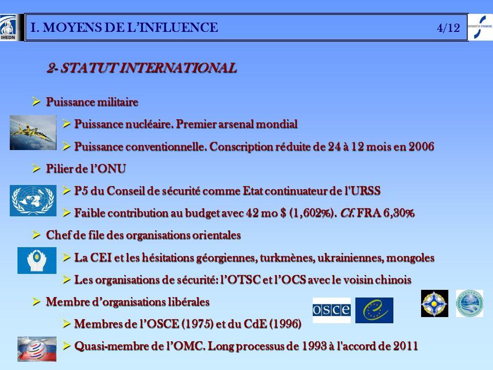 I. MOYENS DE LINFLUENCE 4/12 2- STATUT INTERNATIONAL Puissance militaire Puissance militaire Puissance nucléaire. Premier arsenal mondial Puissance nu