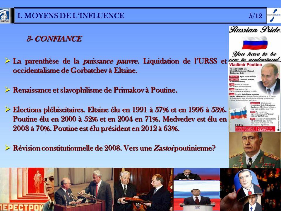 I. MOYENS DE LINFLUENCE 5/12 3- CONFIANCE La parenthèse de la puissance pauvre. Liquidation de lURSS et occidentalisme de Gorbatchev à Eltsine. La par