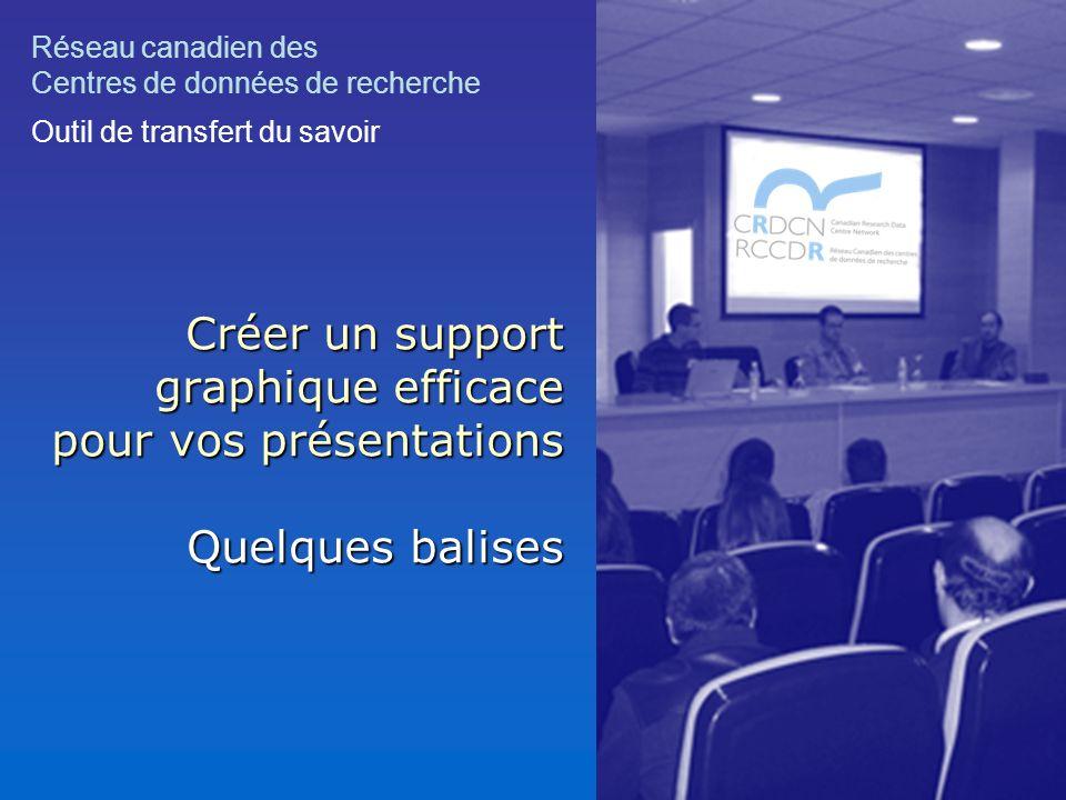 Créer un support graphique efficace pour vos présentations Quelques balises Réseau canadien des Centres de données de recherche Outil de transfert du savoir