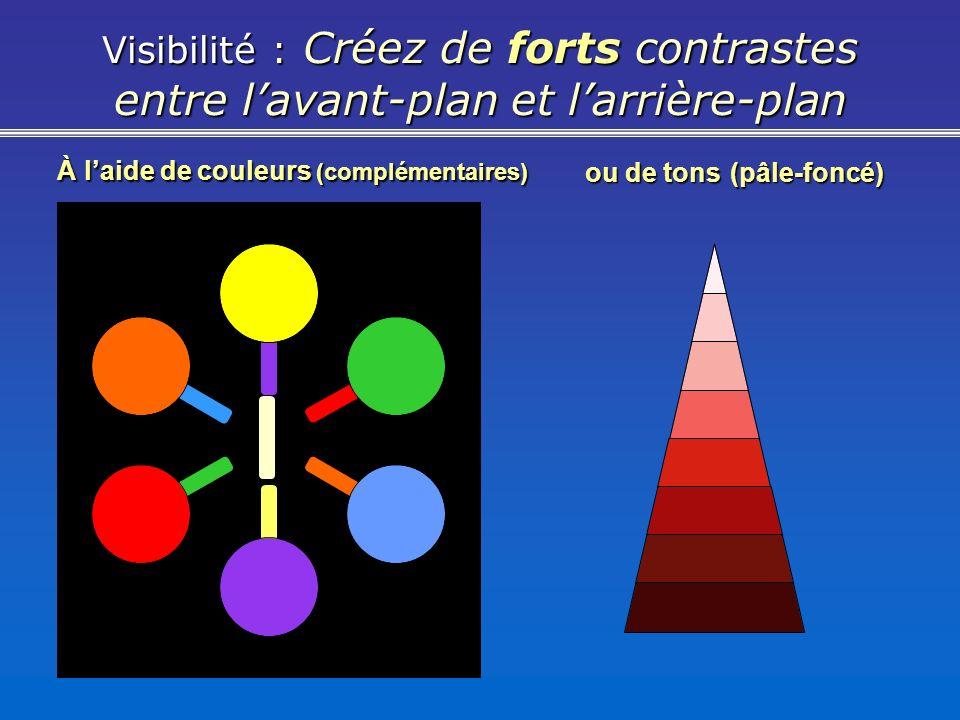 Visibilité : Créez de forts contrastes entre lavant-plan et larrière-plan À laide de couleurs (complémentaires) ou de tons (pâle-foncé)
