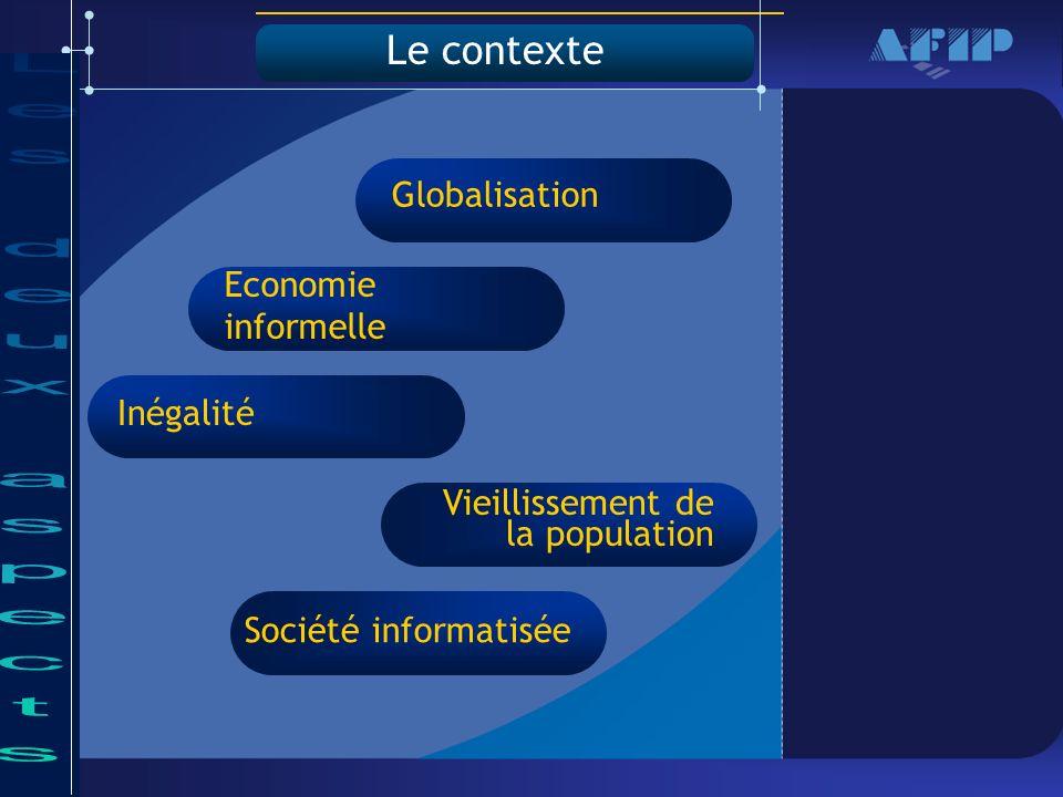 Le contexte Economie informelle Inégalité Vieillissement de la population Société informatisée Globalisation