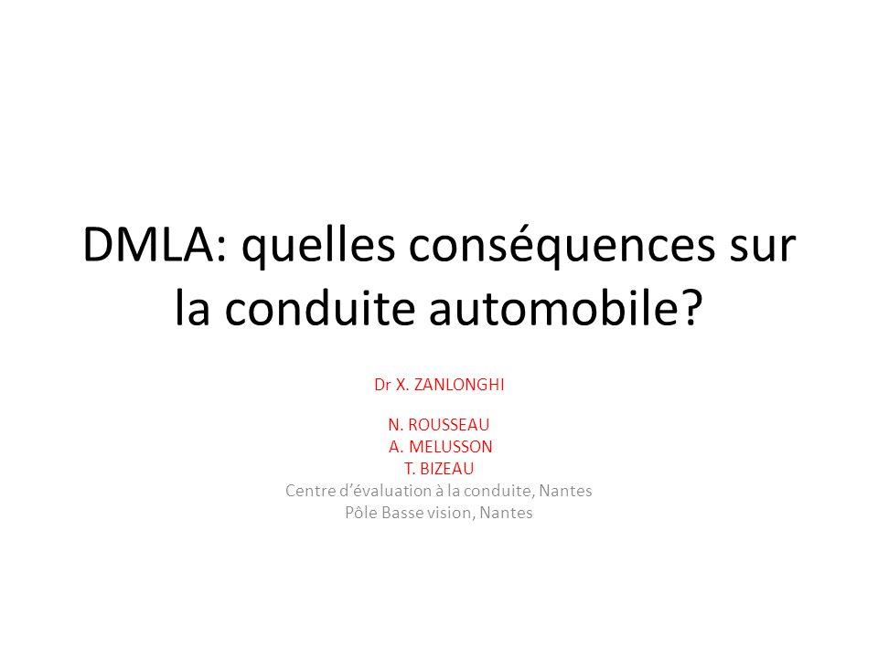 DMLA: quelles conséquences sur la conduite automobile? Dr X. ZANLONGHI N. ROUSSEAU A. MELUSSON T. BIZEAU Centre dévaluation à la conduite, Nantes Pôle