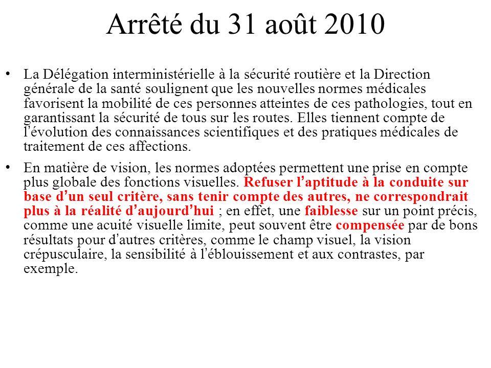 Arrêté du 31 août 2010 La Délégation interministérielle à la sécurité routière et la Direction générale de la santé soulignent que les nouvelles norme