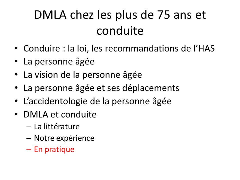 DMLA chez les plus de 75 ans et conduite Conduire : la loi, les recommandations de lHAS La personne âgée La vision de la personne âgée La personne âgé