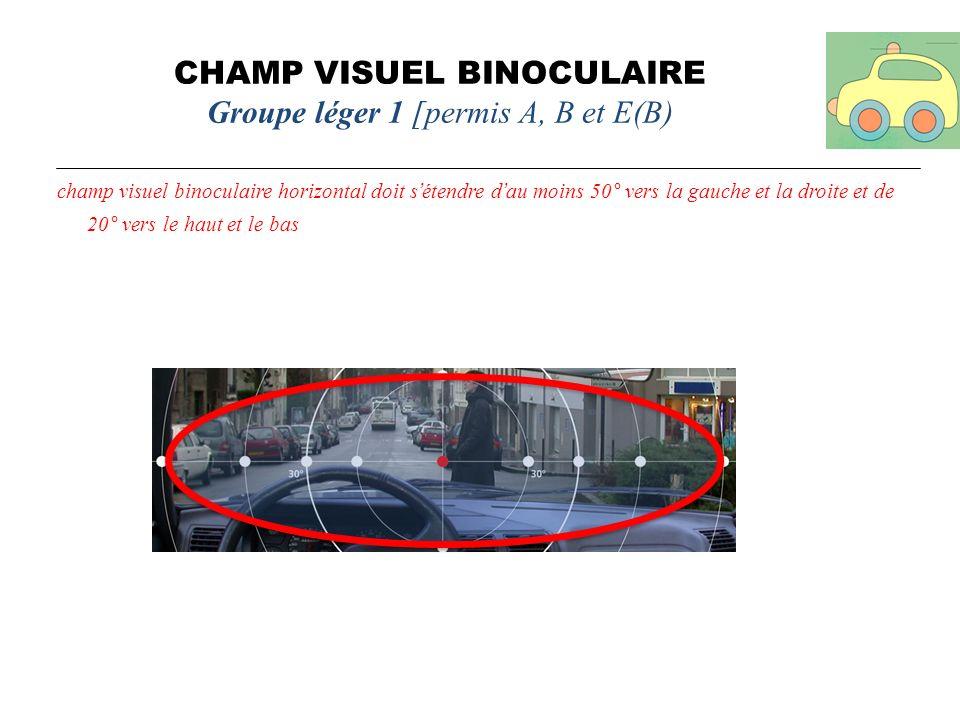 CHAMP VISUEL BINOCULAIRE Groupe léger 1 [permis A, B et E(B) champ visuel binoculaire horizontal doit sétendre dau moins 50° vers la gauche et la droi