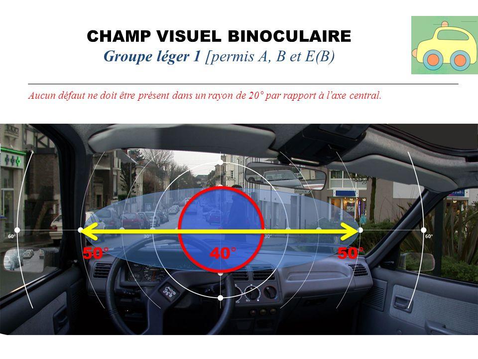 CHAMP VISUEL BINOCULAIRE Groupe léger 1 [permis A, B et E(B) Aucun défaut ne doit être présent dans un rayon de 20° par rapport à laxe central. 50° 40