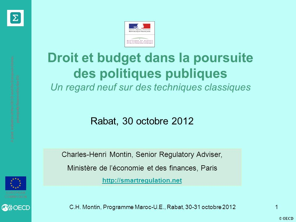 © OECD A joint initiative of the OECD and the European Union, principally financed by the EU EUROPEAN COMMISSION C.H.
