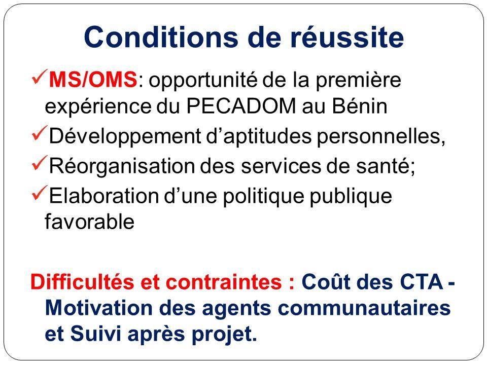 Conditions de réussite MS/OMS: opportunité de la première expérience du PECADOM au Bénin Développement daptitudes personnelles, Réorganisation des ser