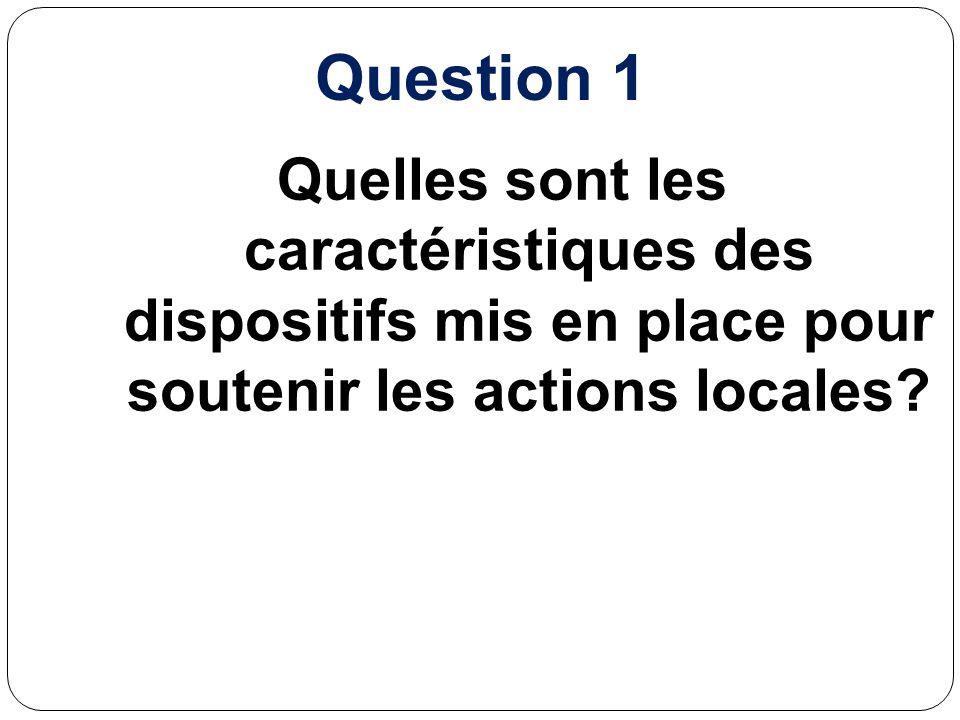 Question 1 Quelles sont les caractéristiques des dispositifs mis en place pour soutenir les actions locales?
