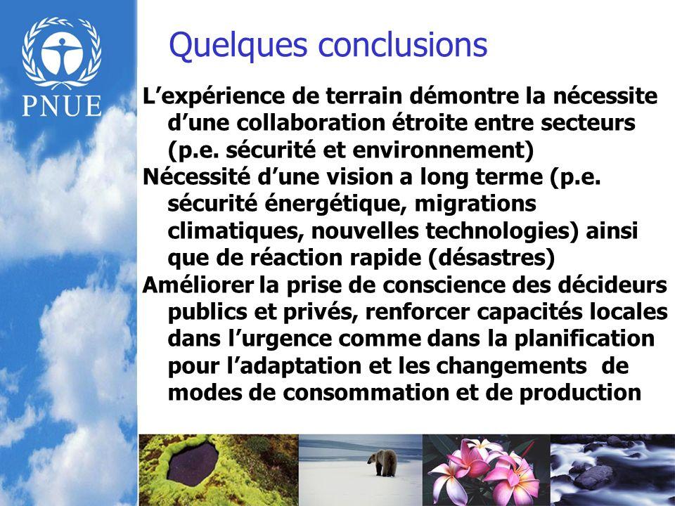Lexpérience de terrain démontre la nécessite dune collaboration étroite entre secteurs (p.e.