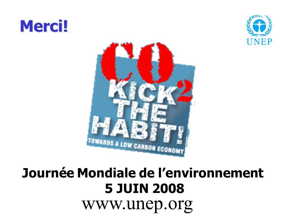 Journée Mondiale de lenvironnement 5 JUIN 2008 www.unep.org Merci!