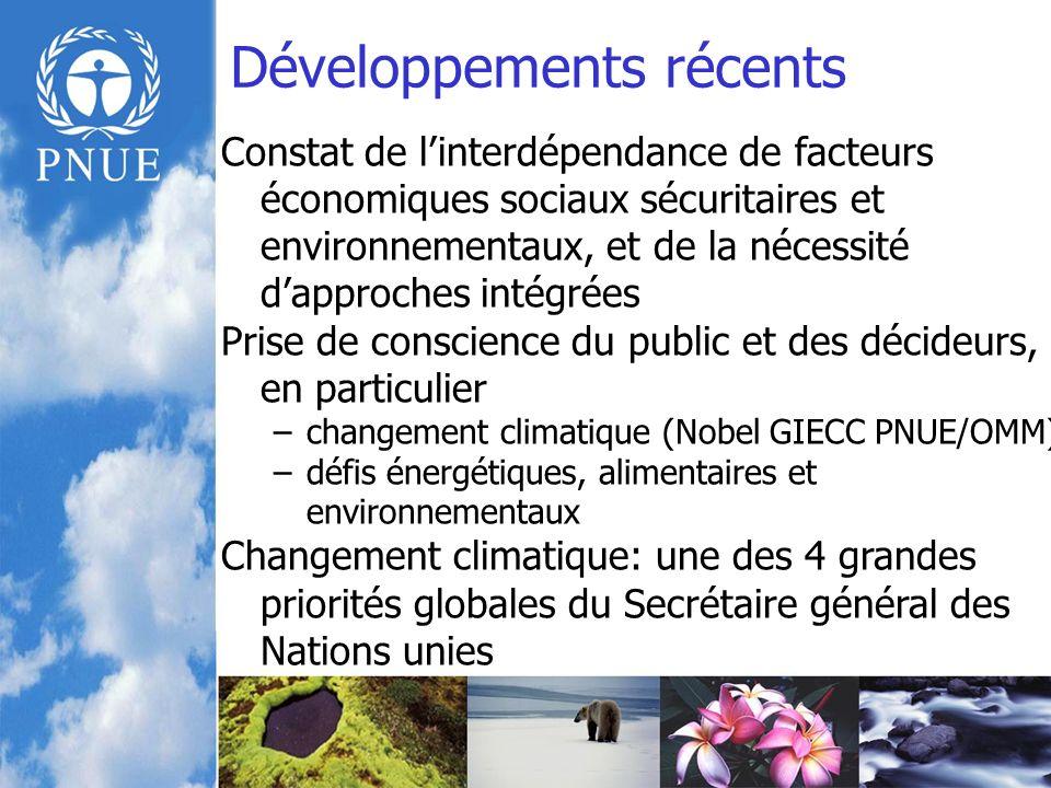 Développements récents Constat de linterdépendance de facteurs économiques sociaux sécuritaires et environnementaux, et de la nécessité dapproches intégrées Prise de conscience du public et des décideurs, en particulier –changement climatique (Nobel GIECC PNUE/OMM) –défis énergétiques, alimentaires et environnementaux Changement climatique: une des 4 grandes priorités globales du Secrétaire général des Nations unies